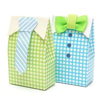 50pcs My Little Man Blue Green Bow Tie Birthday Boy Baby Shower Favor Candy Treat Bag Wedding Favors Candy Box Gift Bag