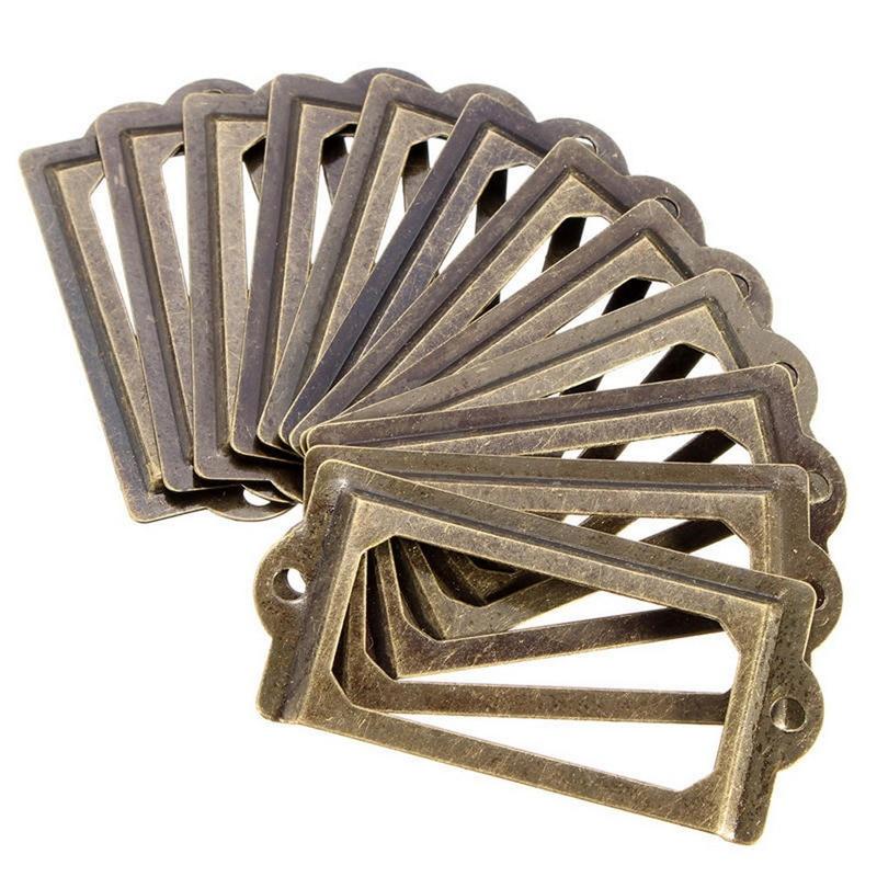 12Pcs/set Antique Brass Metal Label Pull Frame Furniture Handle File Name Card Holder For Furniture Cabinet Drawer Box Case Bin