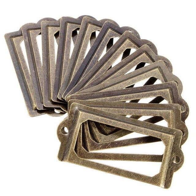 12pcsset antique brass metal label pull frame furniture handle file 12pcsset antique brass metal label pull frame furniture handle file name card holder for reheart Images