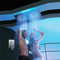 Ceiling Mounted LED Double Rainfall Shower Heads 2 Functions Brushed Shower Faucets Set Water Power Light Bathroom Rain Shower