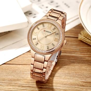 CURREN Brand Luxury Women's Casual Watches Waterproof Wristwatch Women Fashion Dress Rhinestone Stainless Steel Ladies Clock 3