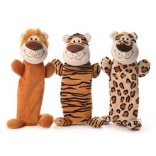 1pc Cute Pet Dog Chew Toys Plush Eco-Friendly Bottle Dog Chewing Toy Smile Tiger Lion Leopard Shaped Toys Throwing Toys for Dogs(China)