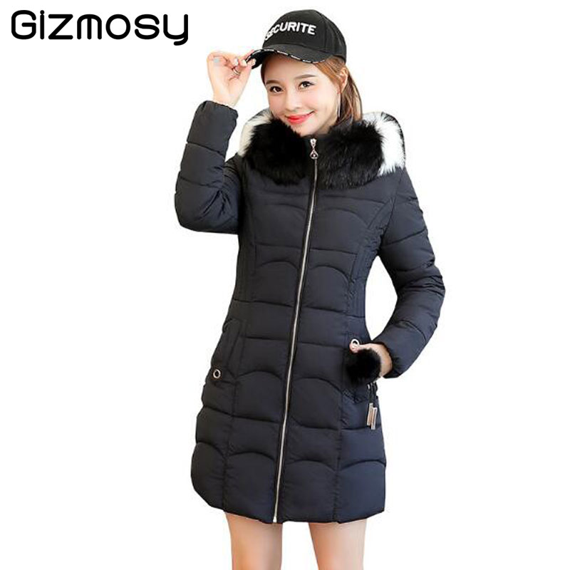 2018 New Fashion Winter Jacket Women With Fur collar Warm Hooded Female Womens Winter Coat Long   Parka   Outwear Camperas SY5702