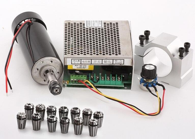 500W cnc spindle air cooled spindle motor 500w 220V power supply / 1set er11 collet spindle 500w