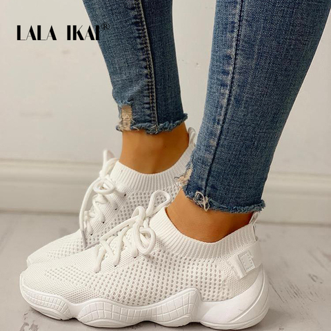 LALA IKAI Sneakers Women Spring Breathable Mesh Shoes Casual Lace Up Vulcanize Shoes Female Soft Pink Tenis Shoes 014A3796-4 Karachi