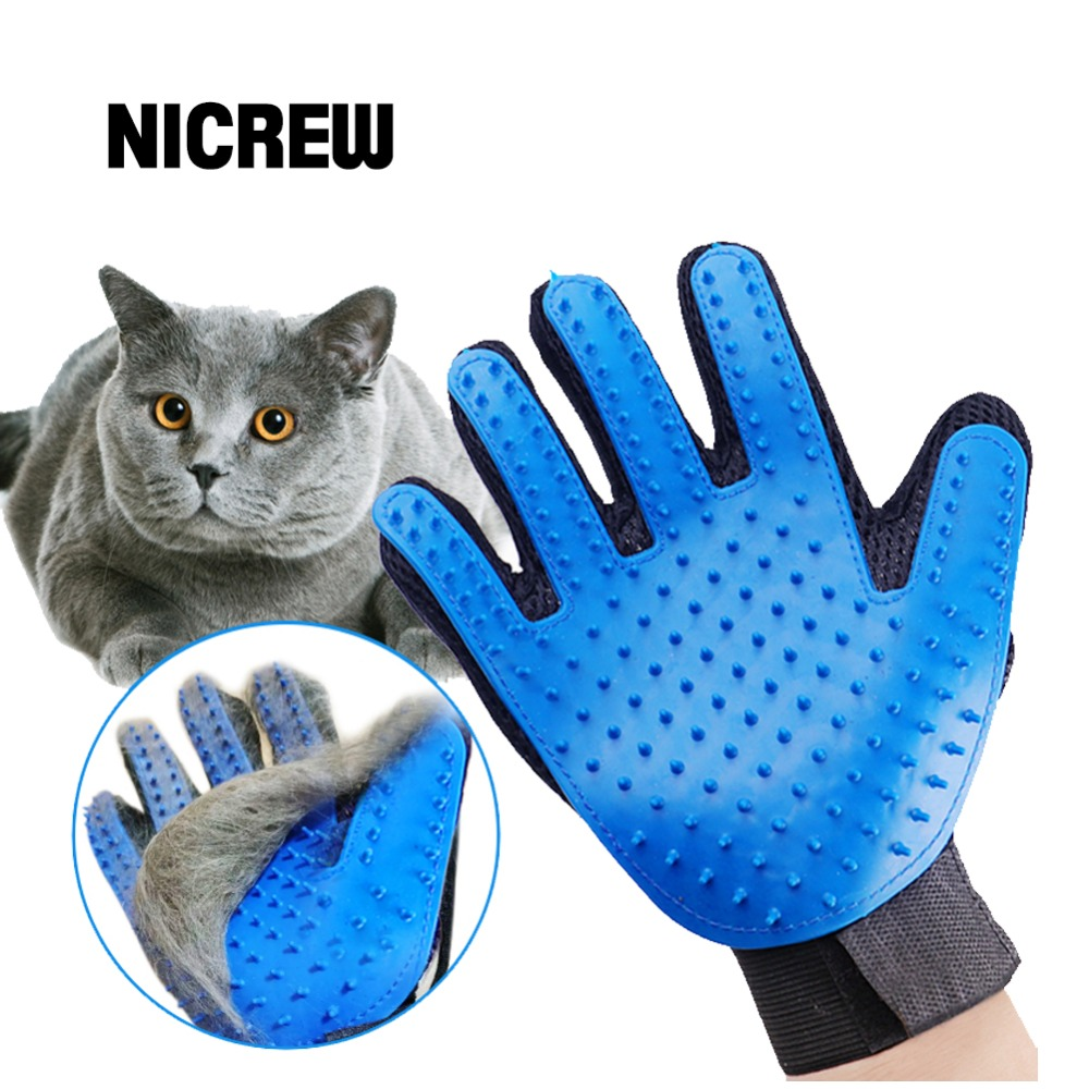 Nicrew Glove For Animal Cat Grooming  Brush Glove Touch Pet Dog Gentle Efficient Back Massage Fur Washing Bathing Brush Comb cat and dog pet cleaning massage gloves brush