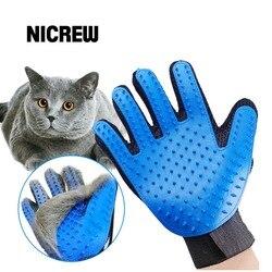 Nicrew luva para animal gato grooming escova luva toque pet cão suave eficiente de volta massagem pele lavagem escova banho pente
