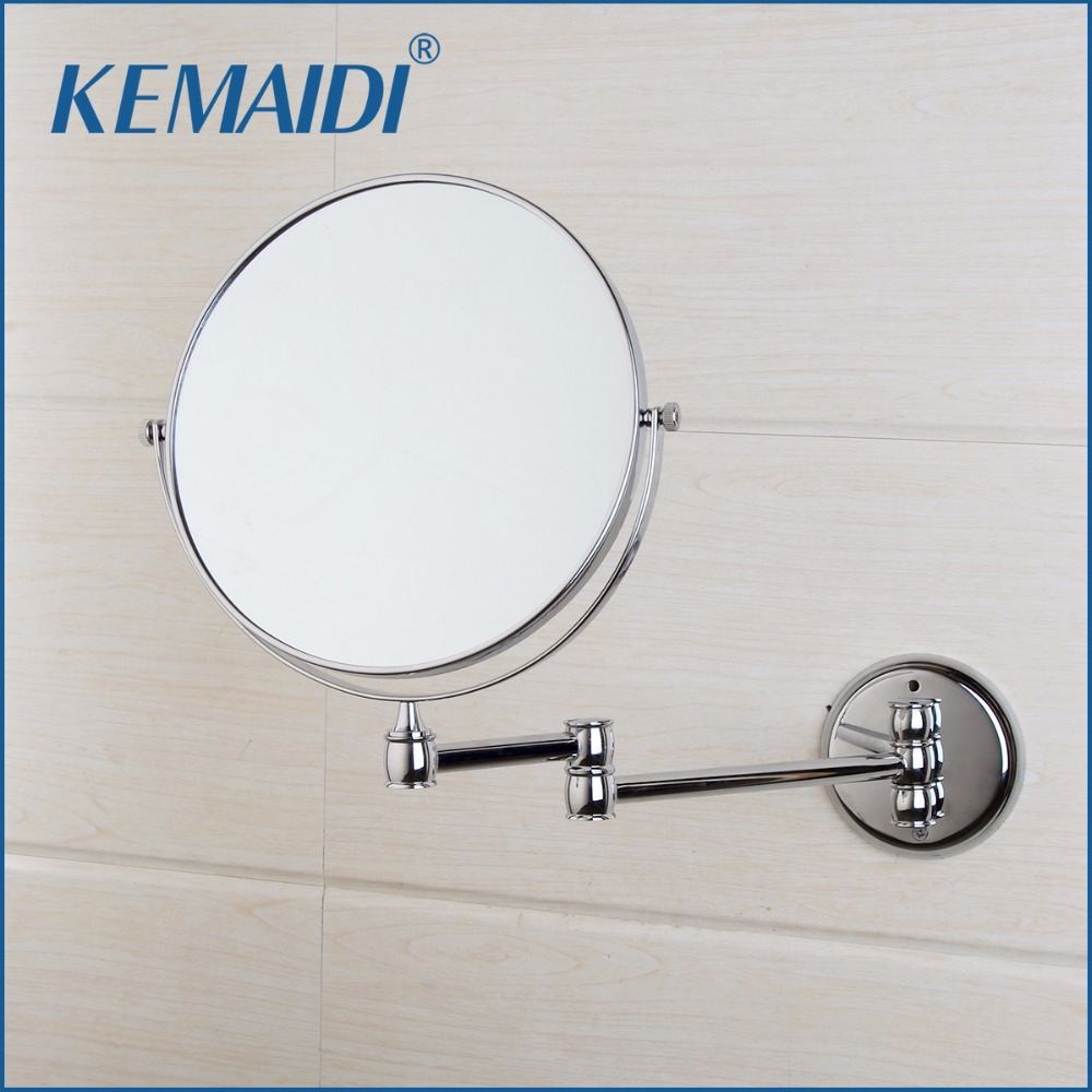 KEMAIDI 3X Magnifying Beauty Makeup Mirror 8 Wall Mounted Bathroom Toilet Cosmetic Mirror Foldable Double Sided Mirror Design large 8 inch fashion high definition desktop makeup mirror 2 face metal bathroom mirror 3x magnifying round pin 360 rotating