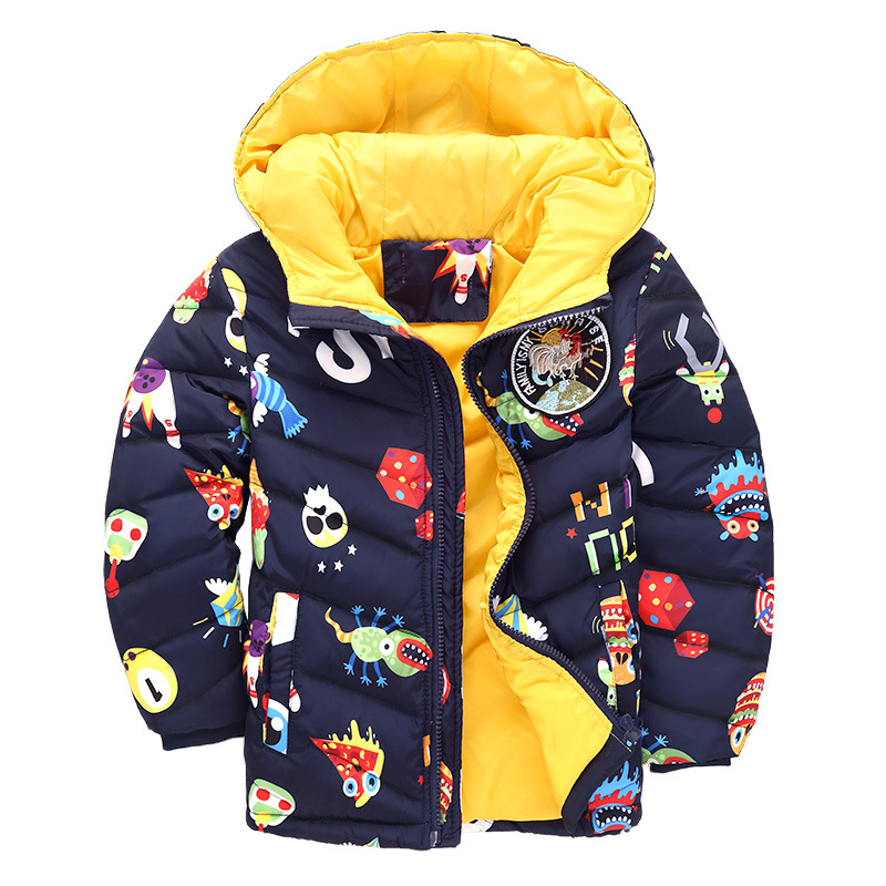 Children Down Jacket 2017 Winter Thick Warm Parkas Down Coat Short Hooded Kids Jacket For Boys Cartoon Outerwear russia winter boys girls down jacket boy girl warm thick duck down