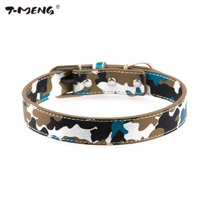 T-MENG Pet Products Kamufláž vzor Originální kožený obojek pro malé psy Nové módní armádní obojky pro zvířata