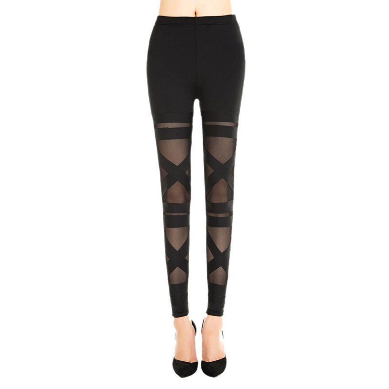 Sexy Women Mesh Hollow Out Stretch Leggings Womens Fashion Bandage Fitness Slim Ladies Casual Leggings Trousers