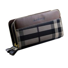 New purses wholesale fashion Europe and double zipper large striped handbag wallet phone packages