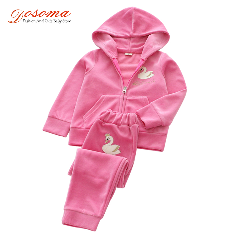 Dosoma sports suit cartoon swan alphabet embroidered children clothing fashion jackets & pants 2pcs set school uniform for girls mother and daugther summer girls set embroidered blouse and butterfly embroidered shorts 2 pcs suit brand clothing high quality