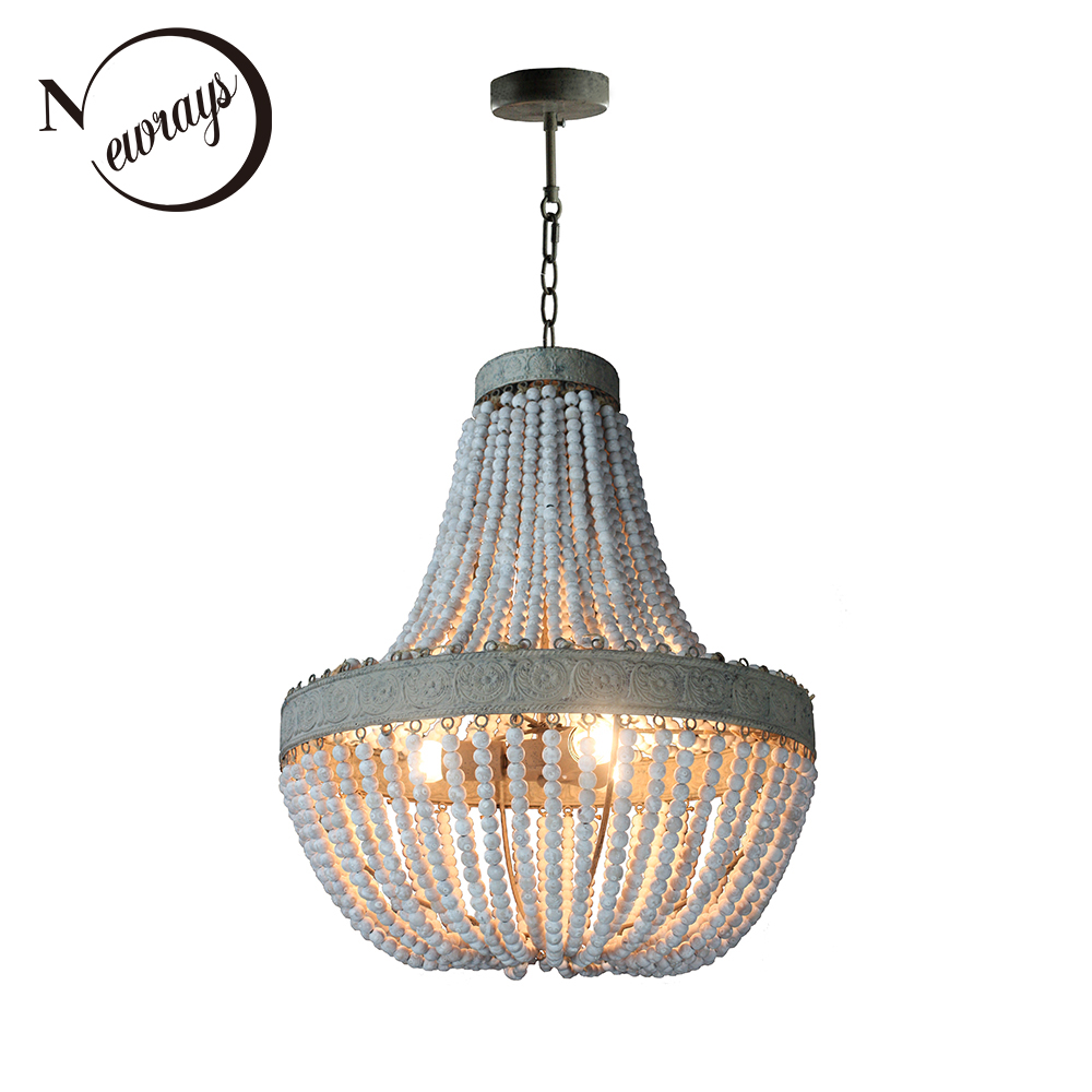 Antique Retro loft vintage rustic round wooden beads pendant lamp with led for hotel living room