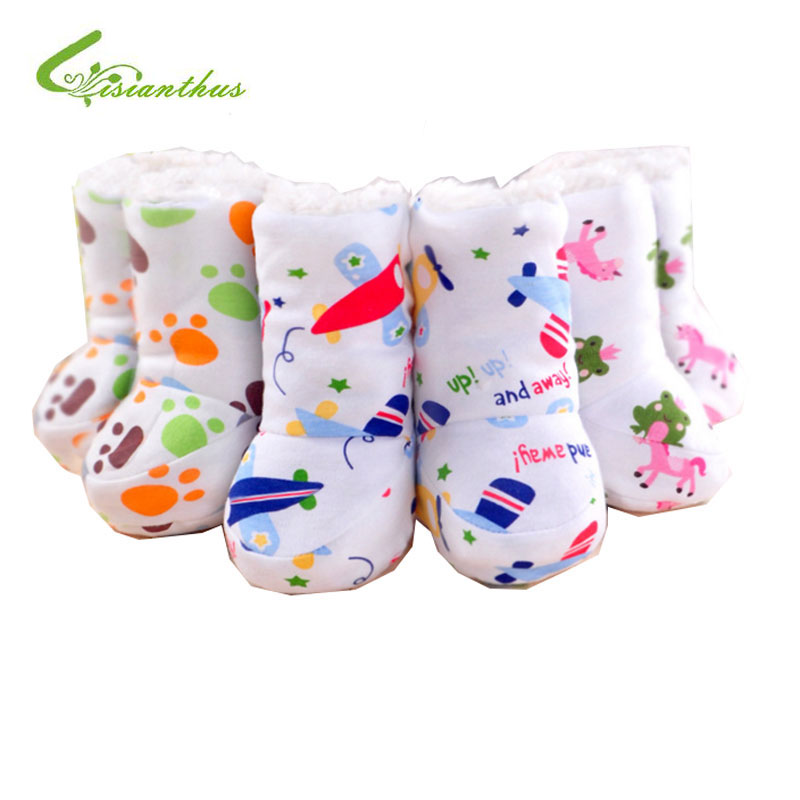 Newborn Baby First Walkers Boy Girls Warm Socks Shoes Children Cotton Cartoon Magic Lace-up Soft Bottom Toddler Prewalkers Boots