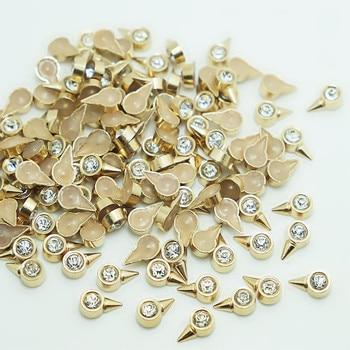 SINUAN Decorative Rivets Hot-Fix Spike Studs Plating Clothing Rivets Antique Brass Rhinestone Spikes Zinc Alloy Bag Accessories