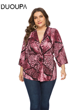 DUOUPA Womens 2019 Spring and Summer New Loose Snake Pattern Cardigan Shirt V-neck T-shirt