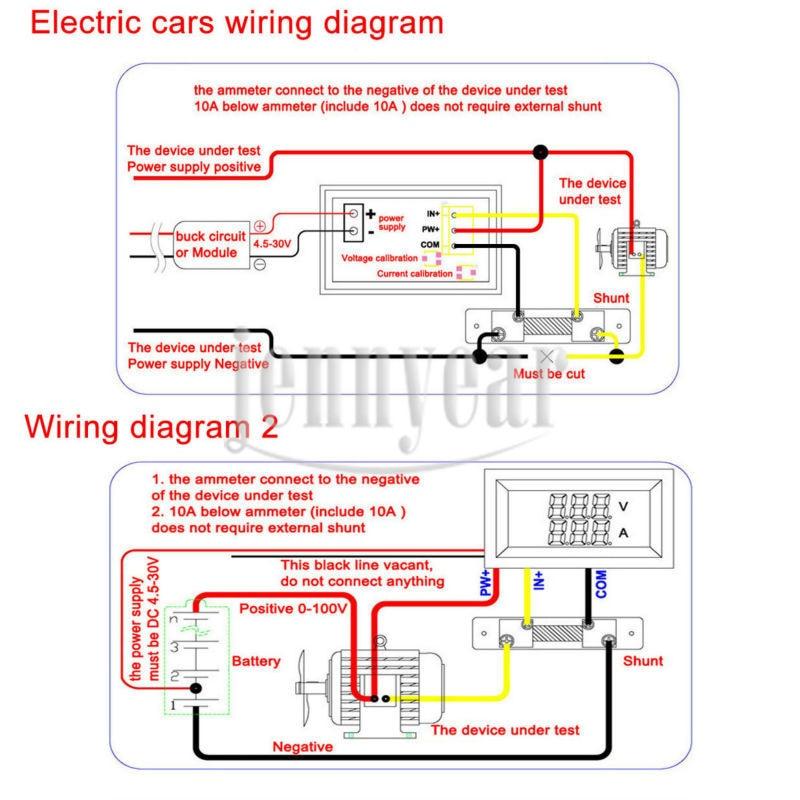 2in1 digital voltmeter ammeter dc 0 100v 10a blue red led display rh aliexpress com