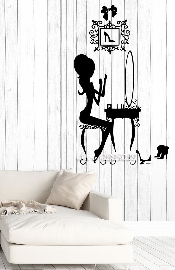 Beauty Salon Make Up Wall Stickers Fashion Teen Room Decor Vinyl Wall Decals  Removable Design Autocollant
