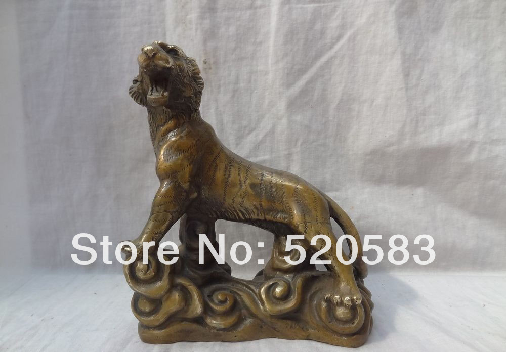 Free Chinese Bronze 12 Zodiac Carved Animals Sculpture China Wealth Up Tiger Statue Fast
