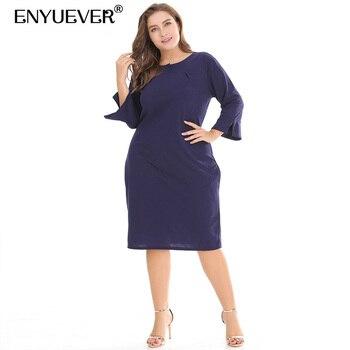 05cc5595e0c33 Enyuever Lacivert Ofis Elbise Kadın Yaz Artı Boyutu Kollu Ince Rahat Parti  Kılıf Kalem Iş Elbisesi Cepler Ile Vestidos