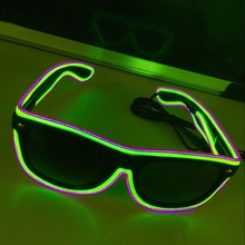 LED Glow Sunglass Glasses Fashion Neon Light Up Glow Rave Costume Party Bright SunGlasses Easter Party Supplies цена 2017