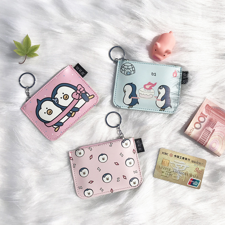 20 pcs/lot bande dessinée nouveau porte-monnaie multi-fonction porte-carte Simple pingouin motif porte-monnaie porte-monnaie femmes portefeuille