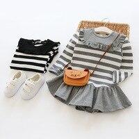 V Tree Spring Autumn Baby Girls Dress Cotton Striped Long Sleeve Kids Ruched Dress Children Princess