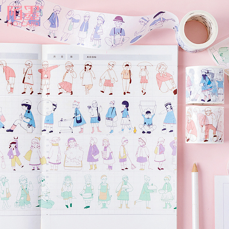 Kawaii Little People Series Person Color Washi Masking Tape Paper Stickers Scrapbooking Stationery Decorative Tape