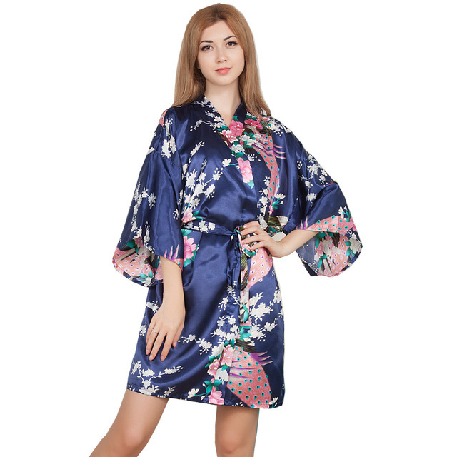 01179d892b Women Silk Satin Short Nightgown Kimono Robe Floral Bathrobe Night Robe  Wedding Bride Bridesmaid Sexy Dressing