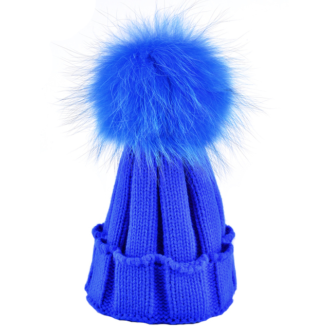 2017 New winter raccoon fur hats for women 100% Real Fur Hairball Girls Boys cap mother and child's Knitted beanie gorros bonnet