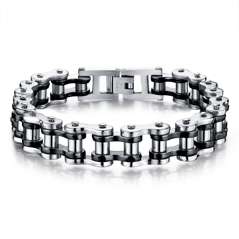 LASPERAL Punk Rock Male Bracelet Biker Bicycle Cuff Bracelets For Men Motorcycle Link Chain Cool Bangles Stainless Steel Jewelry sda 24mm width punk 316l stainless steel bracelet men biker bicycle motorcycle chain men s bracelets mens bracelets
