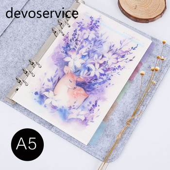 2017 New Arrival 5Pcs/Set A5 A6 Deer Design  Notebook Index Page Retro Planner Inner Slip Sheet Matte Spiral Book Category Pages 5pcs floral category page planner index page notebook translucent 6 hole binder