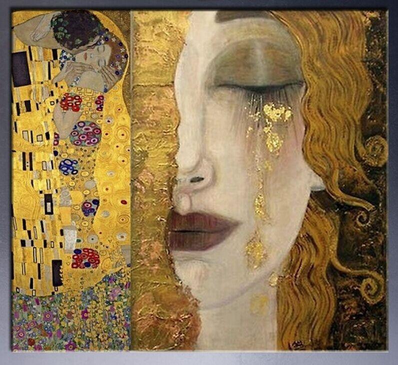 Pintura Abstracta del arte de la pared el beso y lágrimas de oro ...