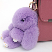 Real rabbit fur pendant keychain car bag with a rabbit cute outfit adorable female bag car accessories good gift for girls