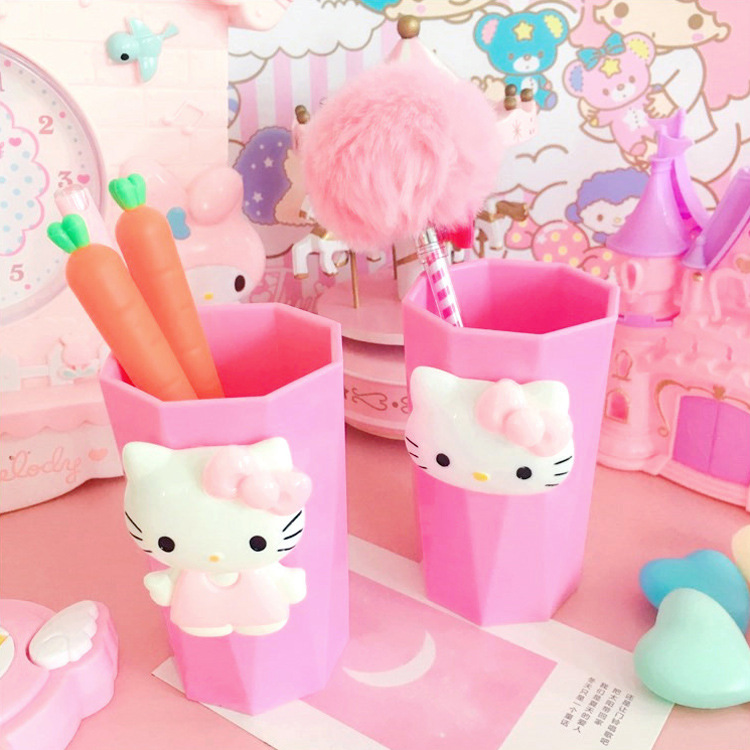 Pink KT Cat Cup Cute Cartoon Hello Kitty Toothbrush Holder Cup Mouthwash Brush Cup Travel Use Shaped Plastic Tooth Water Cup image