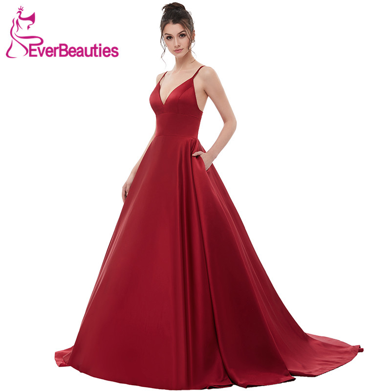 Wine Red Sexy Satin Evening Dresses Long 2019 A Line Prom Dresses Evening Party Gown Open Back Robe De Soiree With Pockets