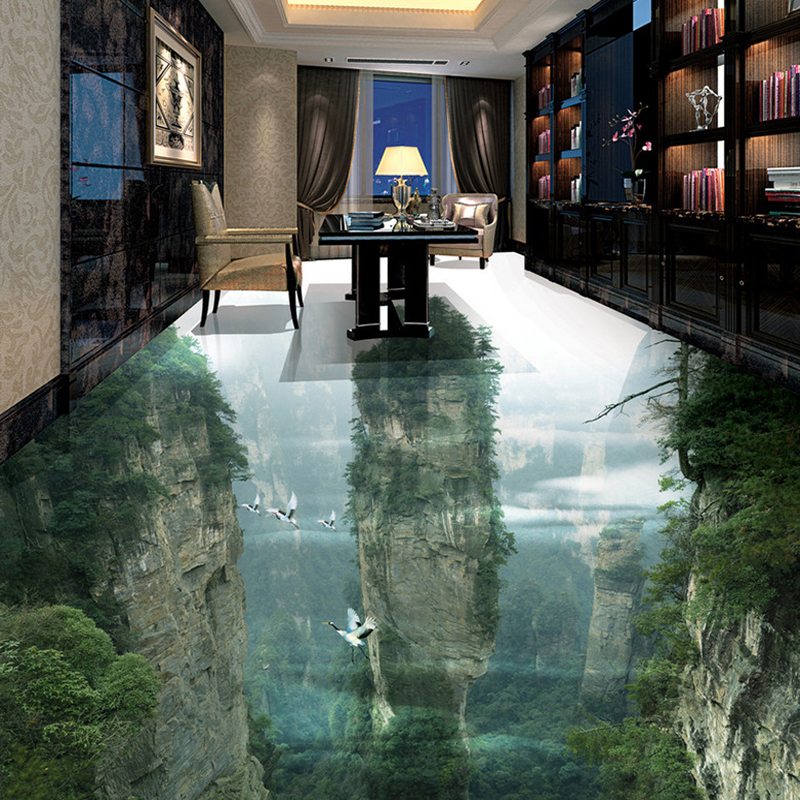 Image 3 - Custom Photo Floor Wallpaper 3D Cliffs Mountain Peaks Living Room Bathroom 3D Floor Tiles Mural PVC Self Adhesive Wallpaper Roll-in Wallpapers from Home Improvement