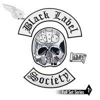 Черный Label Society патч Байкер обратно для мужской жилет одежда череп головы коромысла патчи рок и нашивка в стиле панк вышивка 4 шт. в комплекте