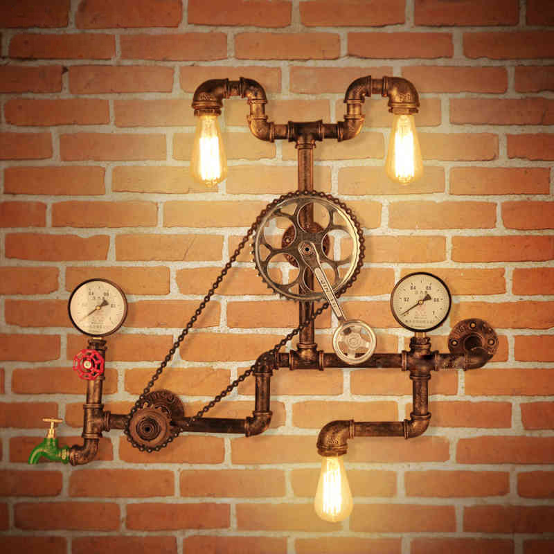 Vintage Wall Lamps Loft Industrial Wheel Water Pipe Wall Light Retro Lighting Fixture for Restaurant Bar