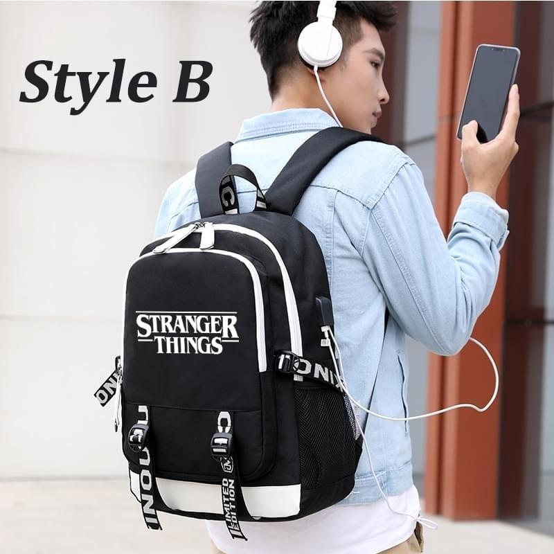Image 3 - multifunction USB charging for teenagers boys Student Girls  School Bags Stranger Things Backpack travel Luminous Bag Laptop  PackBackpacks