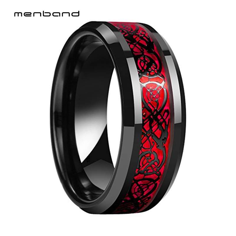 Tungsten Mens Womens Wedding Band Red Opal Based Black Dragon Ring Band 8MM Comfort Fit
