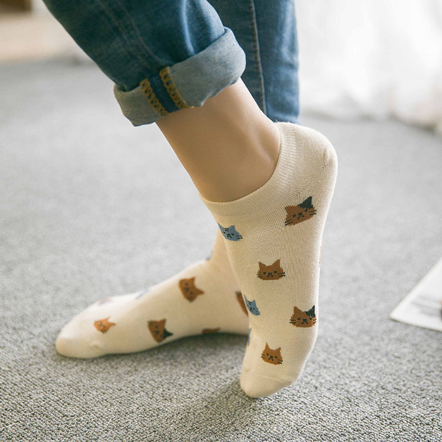 Cute Cat Face Ankle Socks