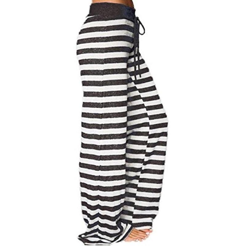 Casual Striped Dot Print   Pants   Autumn Spring Women Loose   Wide     Leg     Pants   Long Trousers Plus Size 3XL Casual   Pants   GV043