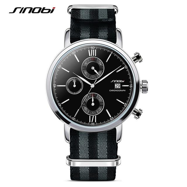 SINOBI Brand Sport Watches For Men Nylon Watchband Watch Men 2017 Chronograph Quartz Wristwatch Waterproof James Bond 007 Clock