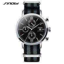 SINOBI Военная Спортивные Часы Для Мужчин Нейлон Ремешок Для Часов Часы Мужчины Хронограф Кварцевые Наручные Часы Водонепроницаемый Джеймс Бонд 007 Часы