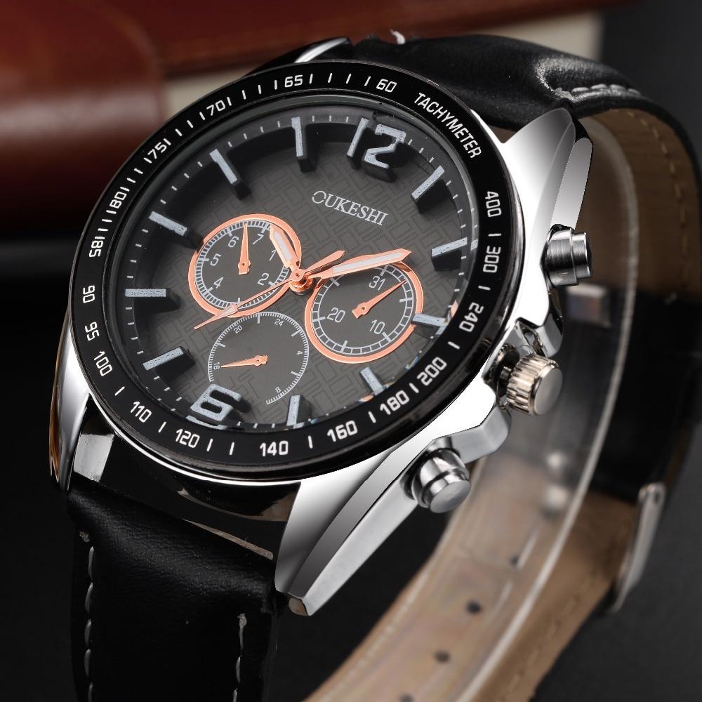 OUKESHI क्रोनोग्रफ़ आरामदायक घड़ी पुरुषों लक्जरी ब्रांड क्वार्ट्ज सैन्य खेल देखो असली लेदर पुरुषों की कलाई घड़ी relogio masculino