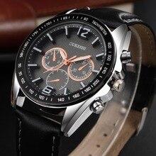 OUKESHI Chronograph Casual Watch Men Luxury Brand Quartz Military Sport Watch Genuine Leather Men's Wristwatch relogio masculino