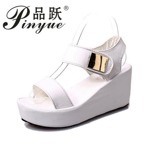 Summer Women Sandals platform heel Leather hook loop metal Soft comfortable Wedge shoes ladies casual sandals white black nayiduyun women genuine leather wedge high heel pumps platform creepers round toe slip on casual shoes boots wedge sneakers