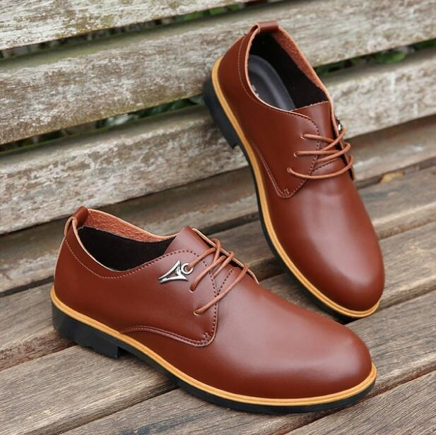 2018 Hot Sale KF801-825 Casual Shoes Men Spring Autumn Waterproof Solid Lace-up Man Fashion Flat With Leather Shoes SIZE 36-45